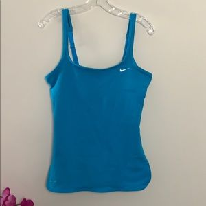 Nike Dri-Fit turquoise tank top bra attached.